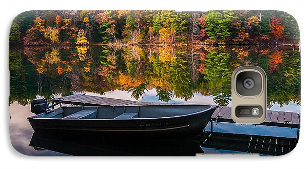 Galaxy S7 Case featuring the photograph Fishing Boat On Mirror Lake by Rikk Flohr