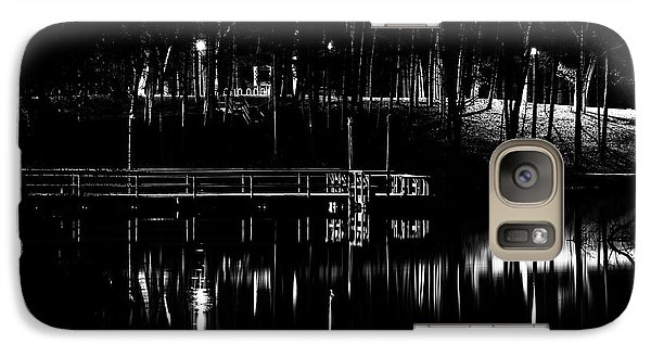 Galaxy Case featuring the photograph Fishing Dock At Night 2017  by Thomas Young