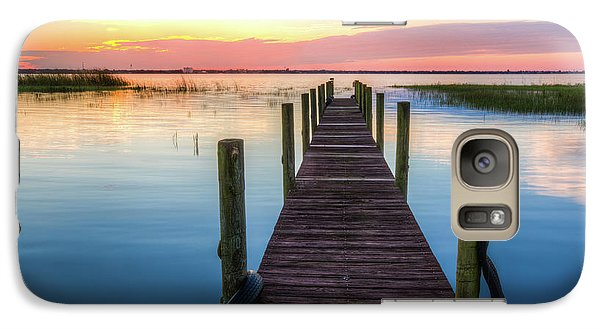 Galaxy Case featuring the photograph Fishing Dock At Sunrise by Debra and Dave Vanderlaan