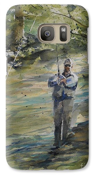 Galaxy Case featuring the painting Fishing The Sturgeon by Sandra Strohschein