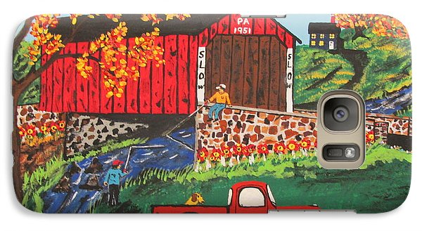 Galaxy Case featuring the painting Fishing Under The  Covered Bridge by Jeffrey Koss
