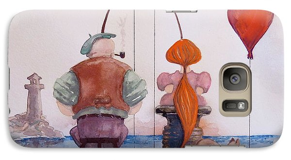 Galaxy Case featuring the painting Fishing With Grandpa by Geni Gorani