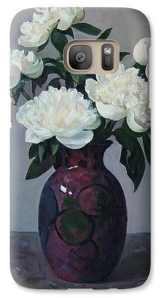 Five White Peonies In Purple Vase Galaxy S7 Case