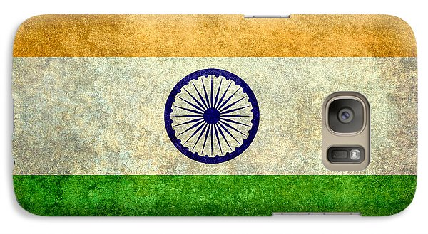 Galaxy Case featuring the digital art Flag Of India Vintage 18x24 Crop Version by Bruce Stanfield