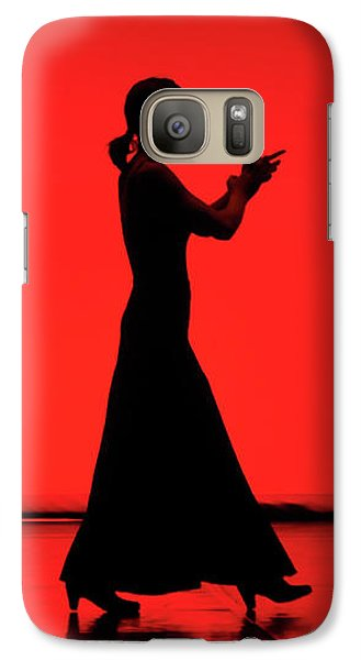 Galaxy Case featuring the photograph Flamenco Red An Black Spanish Passion For Dance And Rithm by Pedro Cardona