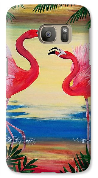 Galaxy Case featuring the painting Flamingo Courtship Dance by Patricia L Davidson