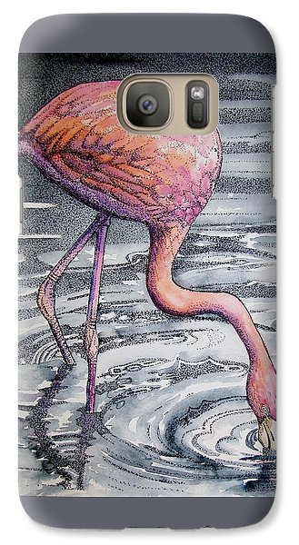 Galaxy Case featuring the painting Flamingo Fishing  II by Martha Ayotte
