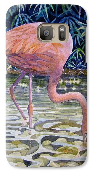 Galaxy Case featuring the painting Flamingo Fishing by Martha Ayotte