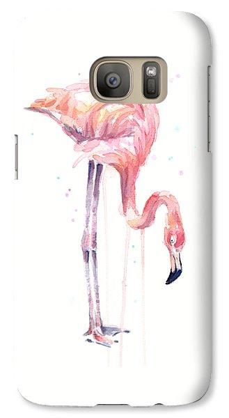 Flamingo Illustration Watercolor - Facing Left Galaxy Case by Olga Shvartsur