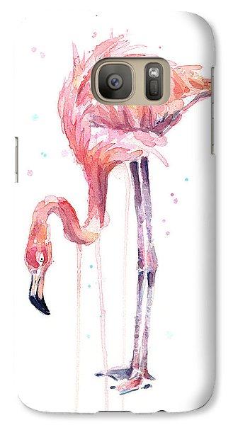 Flamingo Illustration Watercolor - Facing Left Galaxy S7 Case