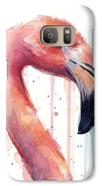 Flamingo Painting Watercolor - Facing Right Galaxy Case by Olga Shvartsur