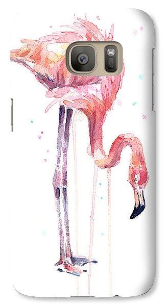 Flamingo Galaxy S7 Case - Flamingo Painting Watercolor by Olga Shvartsur
