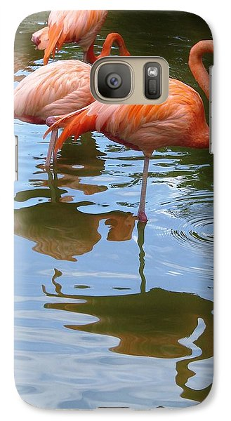 Galaxy Case featuring the photograph Flamingo Reflections by Margaret Bobb