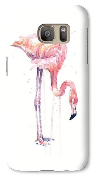 Flamingo Watercolor - Facing Left Galaxy Case by Olga Shvartsur