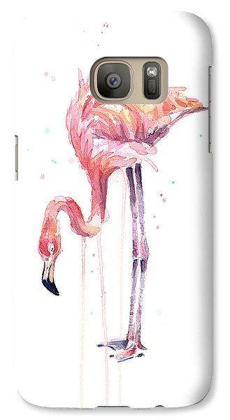 Flamingo Watercolor - Facing Left Galaxy S7 Case