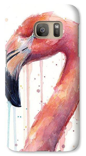 Flamingo Galaxy S7 Case - Flamingo Watercolor Illustration by Olga Shvartsur