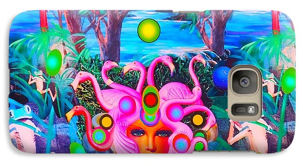Galaxy Case featuring the photograph Flamingodeusa In The Neon Jungle by Douglas Fromm