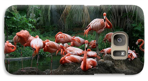 Galaxy Case featuring the photograph Flamingos by Cathy Harper