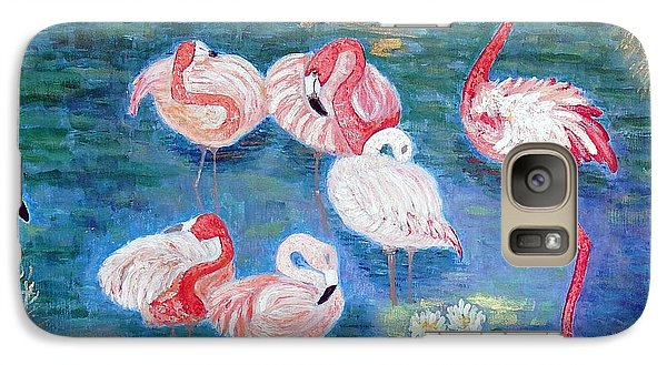 Galaxy Case featuring the painting Flamingos Diptich Right by Vicky Tarcau