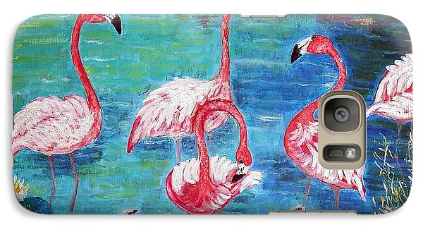 Galaxy Case featuring the painting Flamingos Diptich Left by Vicky Tarcau