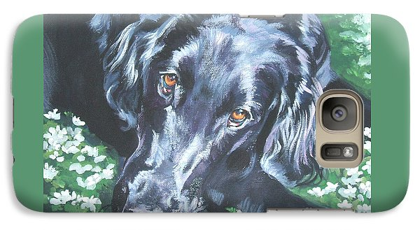 Galaxy Case featuring the painting Flat Coated Retriever by Lee Ann Shepard