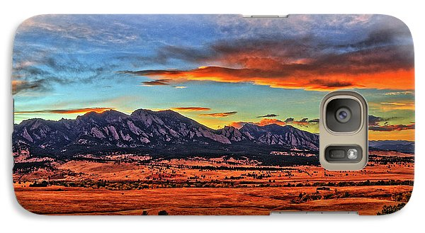 Galaxy Case featuring the photograph Flatiron Sunset Fire Red by Scott Mahon