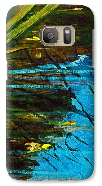 Galaxy Case featuring the painting Floating Gold On Reflected Blue by Suzanne McKee