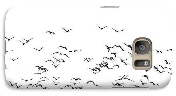 Flock Of Beautiful Migratory Lapwing Birds In Clear Winter Sky I Galaxy S7 Case by Matthew Gibson