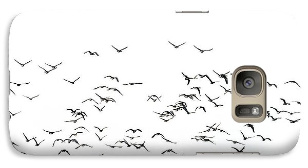 Flock Of Beautiful Migratory Lapwing Birds In Clear Winter Sky I Galaxy Case by Matthew Gibson
