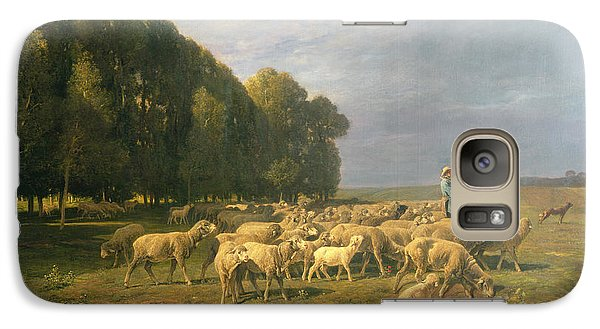 Flock Of Sheep In A Landscape Galaxy S7 Case by Charles Emile Jacque