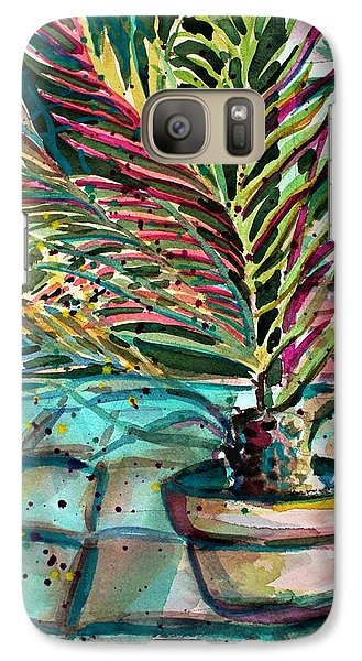 Galaxy Case featuring the painting Florescent Palm by Mindy Newman