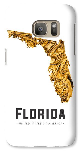 Florida State Galaxy S7 Case - Florida Map Art Abstract In Yellow Gold by Studio Grafiikka