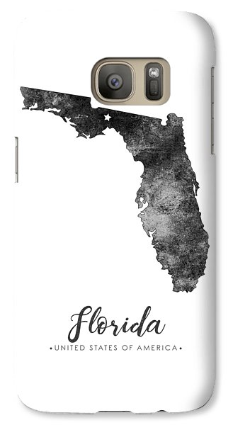 Florida State Galaxy S7 Case - Florida State Map Art - Grunge Silhouette by Studio Grafiikka