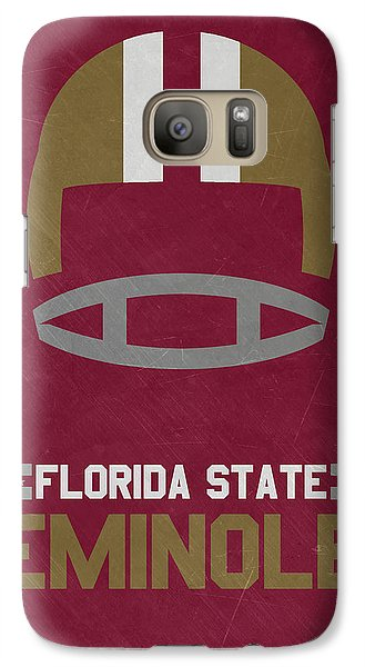 Florida State Galaxy S7 Case - Florida State Seminoles Vintage Football Art by Joe Hamilton