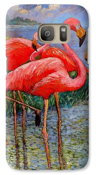 Galaxy Case featuring the painting Florida's Free Flamingo's by Charles Munn