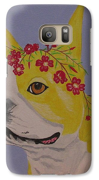 Galaxy Case featuring the painting Flower Dog 5 by Hilda and Jose Garrancho