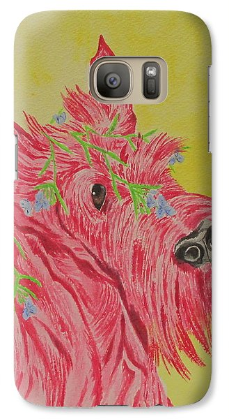 Galaxy Case featuring the painting Flower Dog 6 by Hilda and Jose Garrancho
