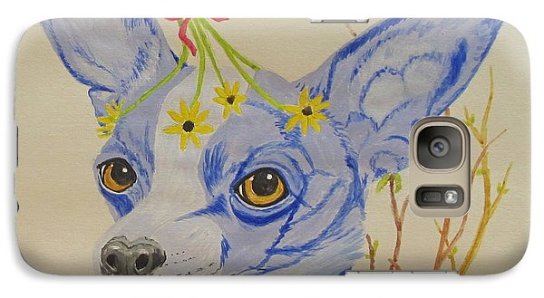 Galaxy Case featuring the painting Flower Dog 7 by Hilda and Jose Garrancho