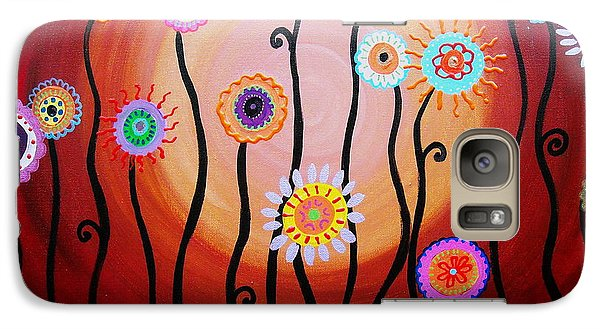Galaxy Case featuring the painting Flower Fest by Pristine Cartera Turkus