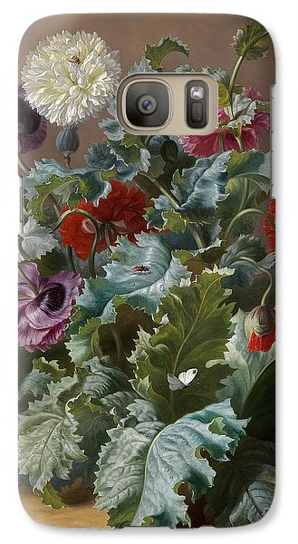 Flower Piece With Poppies And Butterflies Galaxy Case by Celestial Images