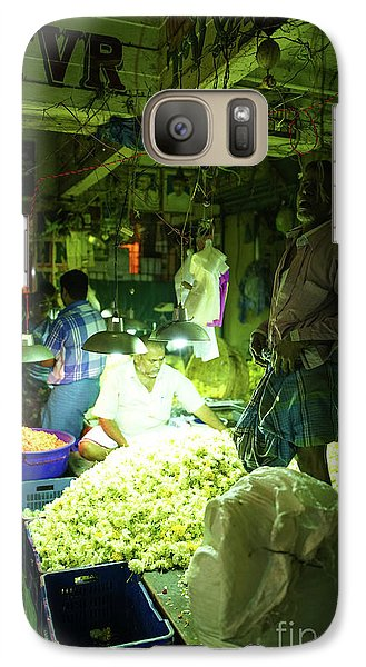 Galaxy Case featuring the photograph Flower Stalls Market Chennai India by Mike Reid
