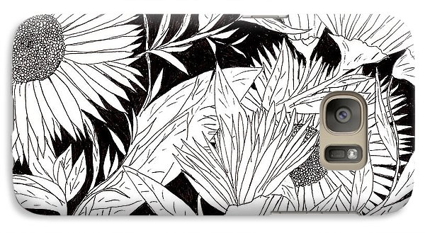 Galaxy Case featuring the drawing Flowers 2 by Lou Belcher