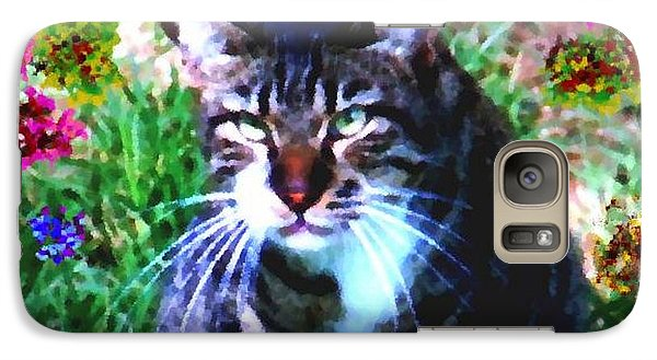 Galaxy Case featuring the digital art Flowers And Cat by Dr Loifer Vladimir