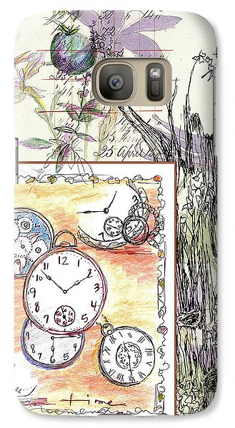 Galaxy Case featuring the drawing Flowers And Time by Cathie Richardson