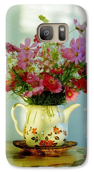Galaxy Case featuring the photograph Flowers In A Teapot by Patricia Greer