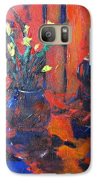 Galaxy Case featuring the painting Flowers In Blue Vase by Gary Smith