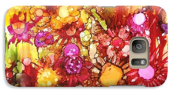 Galaxy Case featuring the painting Flowers In Yellow And Pink by Suzanne Canner