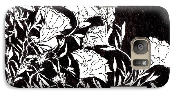 Galaxy Case featuring the drawing Flowers by Lou Belcher