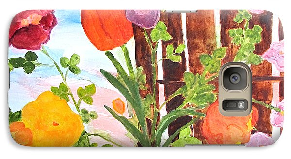Galaxy Case featuring the painting Flowers On A Fence by Sandy McIntire