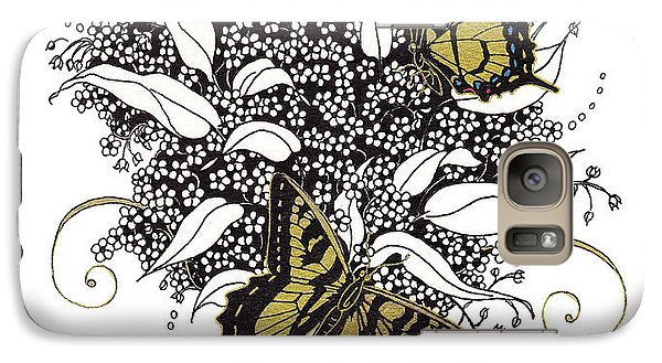 Galaxy Case featuring the drawing Flowers That Flutter by Stanza Widen